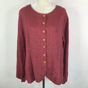 FLAX Shirt Medium M Button Front Linen Pink Berry